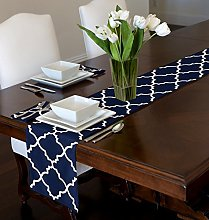A LuxeHome Navy Blue and White Modern Contemporary