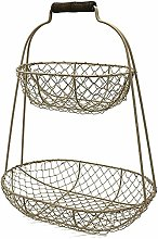 A Metal Layer 2 Baskets with Handles Retro Style