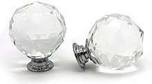 A Pair Of Medium Clear Faceted Crystal Cupboard