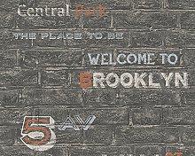 A.S. Creation 95909-1 New York Text Wallpaper,
