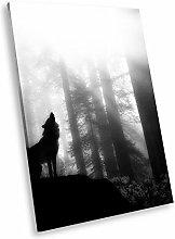 A041 Wolf Cool Black White Animal Portrait Canvas