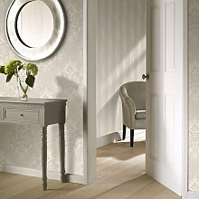 A10907 Fabric Wallpaper - Taupe Damask - Grandeco