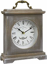 A2Z New Vintage Washed Wood Mantel Clock Rustic
