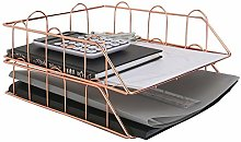 A4 Rose Gold Wire Filing Trays | 2 Stackable