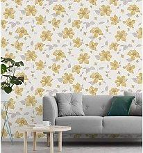 A44401 Magnolia Textured Wallpaper - Yellow -