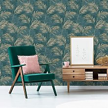 A46105 Lounge Palm - Teal & Gold - Grandeco