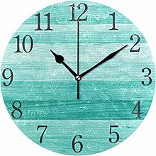 AABAO Teal Turquoise Green Wood Round Wall Clock,