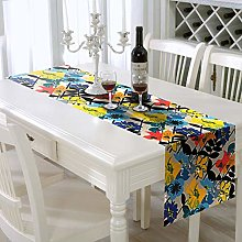 AAYU Flower Print Imitation Linen Table Runner 14