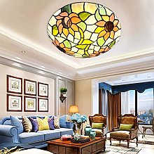 AAZX Sun Flower Tiffany Style Flush Mount Ceiling