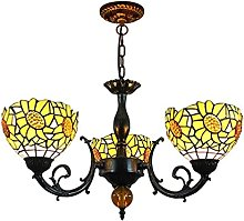AAZX Yellow Tiffany Style Chandelier,Sunflower