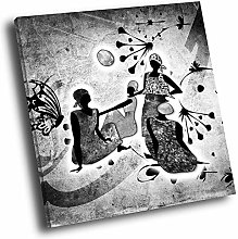 AB780 African Style Black White Square Abstract