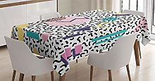 ABAKUHAUS 90s Tablecloth, Geometric Pattern in