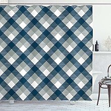 ABAKUHAUS Abstract Shower Curtain, Checkered