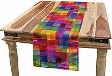 ABAKUHAUS Abstract Table Runner, Rainbow Colored
