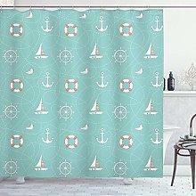 ABAKUHAUS Anchor Shower Curtain, Nautical