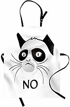 ABAKUHAUS Animal Apron, Cat Face Portrait Says No