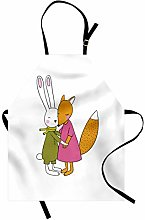 ABAKUHAUS Animal Apron, Fox and Hare Friendly