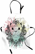 ABAKUHAUS Animal Apron, French Bulldog Flowers,