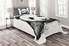 ABAKUHAUS Animal Bedspread Set, Baby Panda Bear