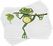 ABAKUHAUS Animal Place Mats Set of 4, Frog on