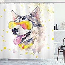 ABAKUHAUS Animal Shower Curtain, Funny Husky Dog
