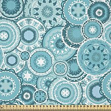 ABAKUHAUS Aqua Fabric by The Yard, Hippie Floral