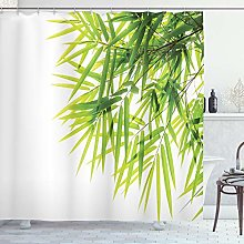 ABAKUHAUS Bamboo Shower Curtain, Bamboo Leaf