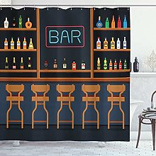ABAKUHAUS Bar Shower Curtain, Pub Stand with
