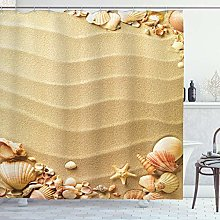 ABAKUHAUS Beach Shower Curtain, Sand with Sea