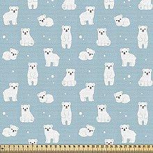 ABAKUHAUS Bear Fabric by The Yard, Cartoon Style