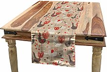 ABAKUHAUS Birds Table Runner, Chickens with Red