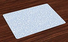 ABAKUHAUS Blue and White Place Mats Set of 4,