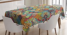 ABAKUHAUS Bohemian Tablecloth, Checkered Folk,