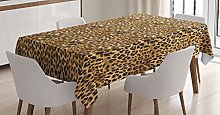 ABAKUHAUS Brown Tablecloth, Leopard Print, Dining