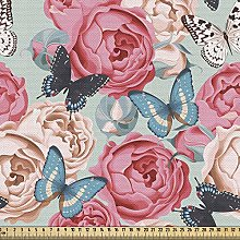 ABAKUHAUS Butterfly Fabric by The Yard, Peony