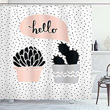 ABAKUHAUS Cactus Shower Curtain, Dotted Backdrop