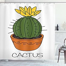 ABAKUHAUS Cactus Shower Curtain, Plant with Yellow