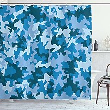 ABAKUHAUS Camo Shower Curtain, Dark with Pale