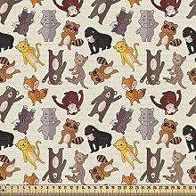 ABAKUHAUS Cartoon Animal Fabric by The Yard,