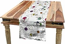 ABAKUHAUS Cat Table Runner, Funny Cats Playing