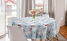 ABAKUHAUS Cherry Blossom Round Tablecloth, Fantasy