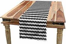 ABAKUHAUS Chevron Table Runner, Zigzags Black and