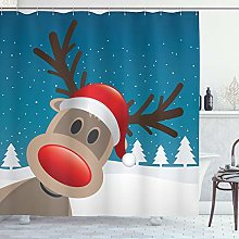 ABAKUHAUS Christmas Shower Curtain, Rudolph the