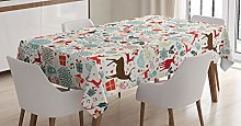 ABAKUHAUS Christmas Tablecloth, Vintage Xmas,