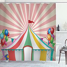 ABAKUHAUS Circus Shower Curtain, Old Style Vintage