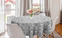 ABAKUHAUS City Round Tablecloth, Hand Drawn