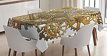 ABAKUHAUS Clock Tablecloth, Steampunk Gears