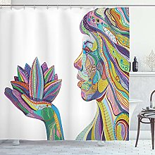 ABAKUHAUS Colorful Shower Curtain, Woman with