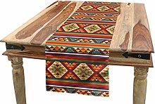 ABAKUHAUS Colorful Table Runner, Aztec Tribal,