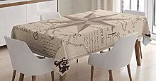 ABAKUHAUS Compass Tablecloth, Central America Map,